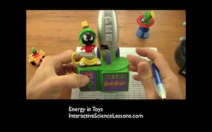 Science demonstration- the kinds of energy in different toys. From lesson 'Energy In Toys'.