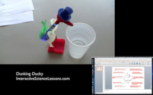 Science demonstration- the drinking ducky bobs back and forth as the ether inside rises and falls. From science lesson- Dunking Duckies