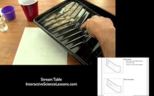 Science demonstration- a paint tray inserts with sand sprinkled on it works nicely as a stream table, showing weathering, erosion, and deposition.