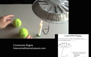 Science demonstration- an aluminum pie pan spins above a candle. From science lesson 'Convection Engine'