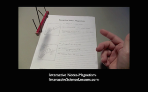 Science demonstration- lay a bar magnet in a cradle (made from a wire coat hanger), hung from the ceiling with string, and watch it align with earth's north pole! From science lesson 'Interactive Notes-Magnetism'.