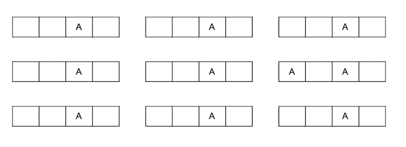 Seating chart with an A student every 4 seats. Every square represents a student seat.